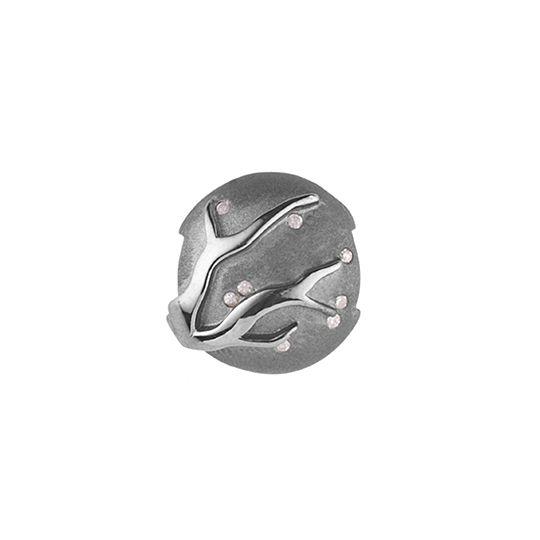 'Cherry blossom' black rhodinated silver pod