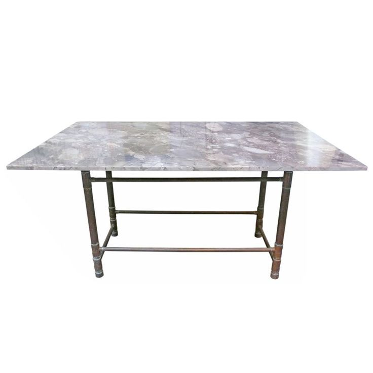 Unusual Copper And Exotic Granite Dining Table