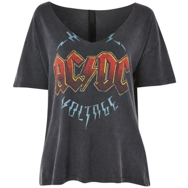 Women's Topshop Ac/dc Relaxed V-Neck Tee (165 BRL) ❤ liked on Polyvore featuring tops, t-shirts, shirts, v-neck top, scoop-neck tees, topshop shirts, cotton jersey t shirt and v-neck shirt