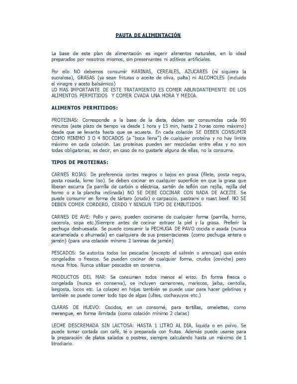 Pauta del creador de la dieta: Doctor Armando Varas Espejo