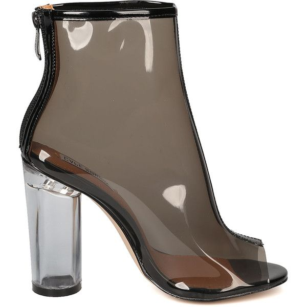 CLAUDIA CLEAR PERSPEX LUCITE BOOTIE at FLYJANE ($20) ❤ liked on Polyvore featuring shoes, boots, ankle booties, ankle boots, perspex boots, short boots, bootie boots and clear booties