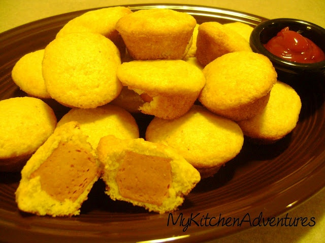 home made corn dogs  1-8.5 oz. box of Jiffy Corn Muffin Mix  1 egg, slightly beaten  1/3 cup skim milk  1 TBS honey  4 Oscar Mayer Turkey Hot dogs, each cut into 5 pieces