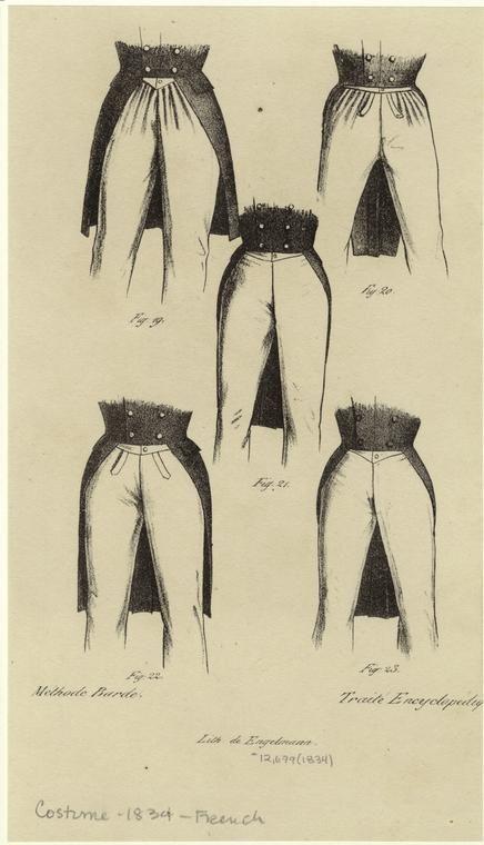 [Figures of men's pants, France, 1834.] Men -- Clothing dress -- France -- 1830-1839