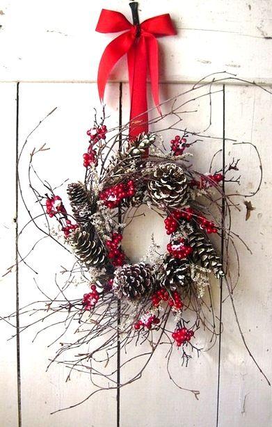 Christmas wreath #winter #photography ToniK Joyeux Noël primitive rustic red & white