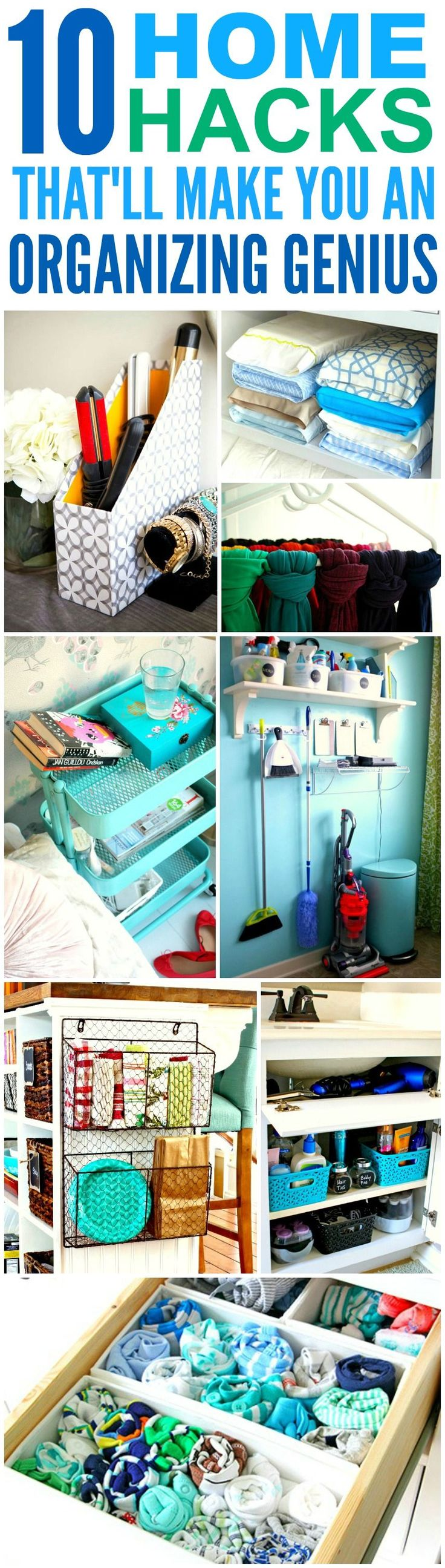 These 10 home hacks that'll made you an organization genius are THE BEST! I'm so glad I found these AMAZING tips! Now I can have a cute and organized house! Definitely repinning for later!