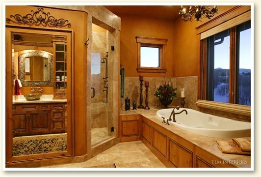 Beautiful And Unique Bathroom Mirrors: Unique Master Bathroom With Glass Shower Enclosure