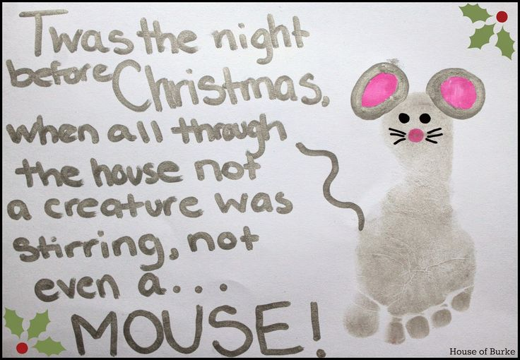 Twas The Night Before Christmas Mouse Footprint Craft