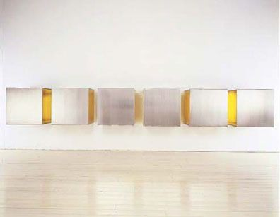 "Donald Judd  Untitled, 1968  Stainless Steel and Yellow Plexiglas, six units  34"" x 34"" x 34""  (c) Donald Judd 2008"