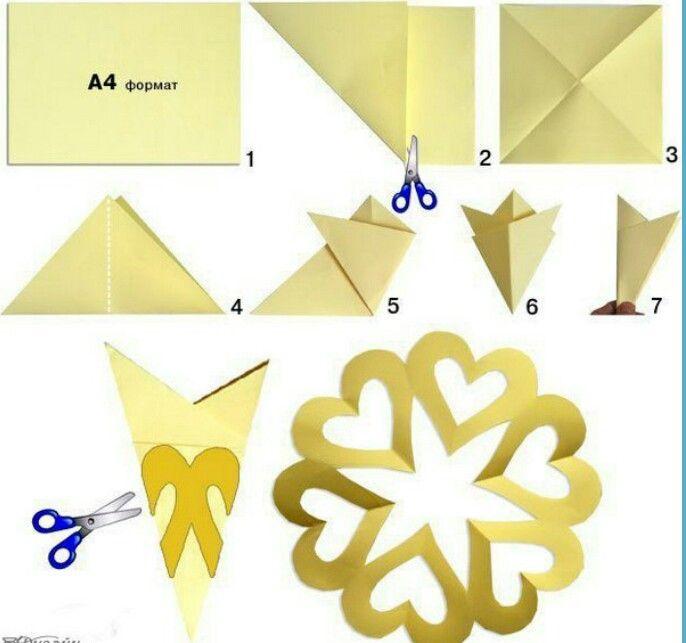 Делаем снежинки из бумаги с картинками