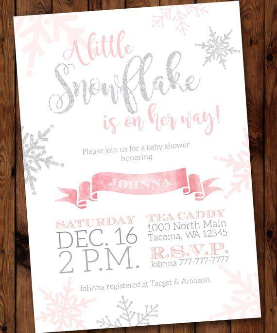 Winter Baby Shower Invitation, Snowflake Shower Invite, Winter Girl Baby Shower Invitation, Baby Its Cold Outside Invite #001