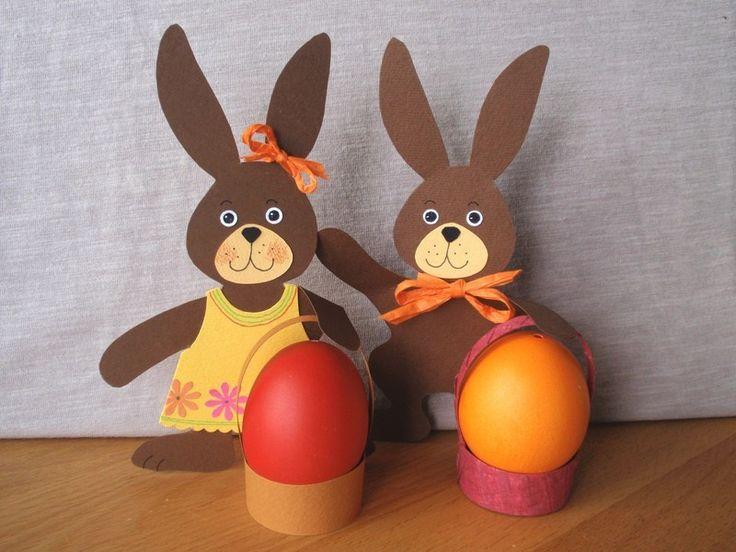 Velikonoce se blíží. Návod -i s šablonami k tisku. Zajíce můžete udělat i bez košíčku, přilepit š...
