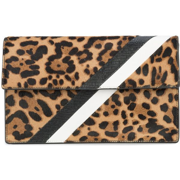 Tomasini leopard print stripe clutch bag ($1,200) ❤ liked on Polyvore featuring bags, handbags, clutches, leopard handbags, leather clutches, genuine leather handbags, real leather purses and 100 leather handbags