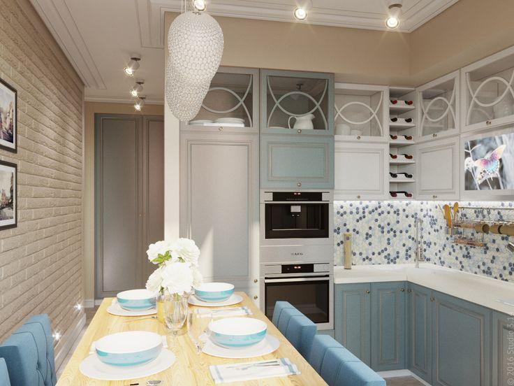 В кухню ведет открытый проход из прихожей-коридора. У них единый стиль оформления, использован декоративный кирпич в молдингах.