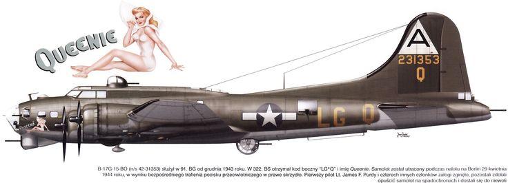 """B-17G-15-DL """"Queenie"""" Unit: 322nd BS, 91st BG, 8th AF, USAAF Serial: LG-Q (42-31353)"""