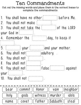 Ten Commandments Cut & Paste Worksheets for Big & Little Kids - Protestant