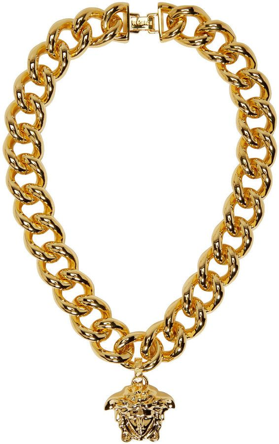 Versace Gold Thick Chain Medusa Necklace