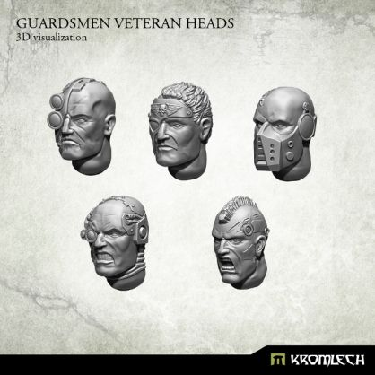 This set contains 10 Guardsmen Veteran Heads (2 of each design). Designed to fit futuristic 28mm heroic scale human soldiers models