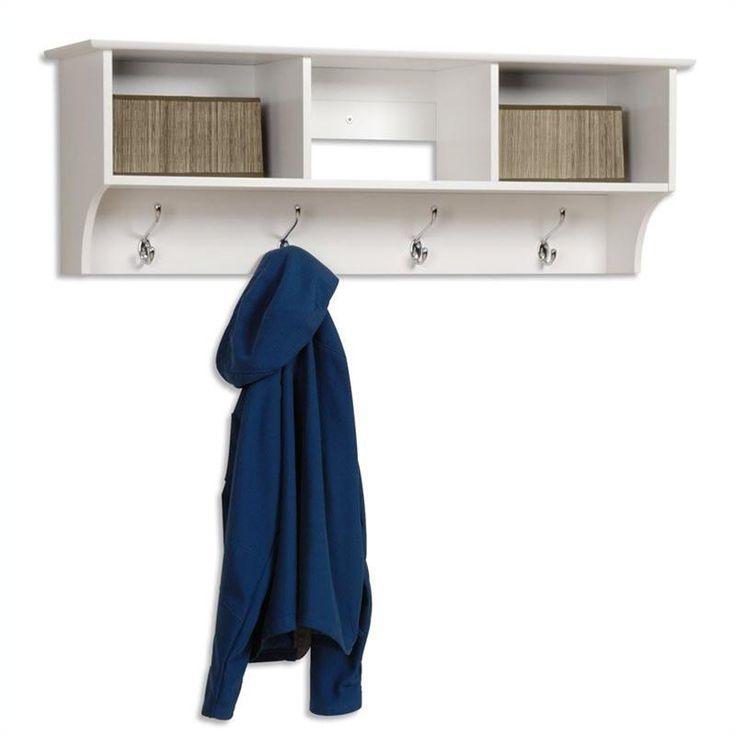Prepac Sonoma White Cubbie Shelf Wall Coat Rack for Entryway - WEC-4816