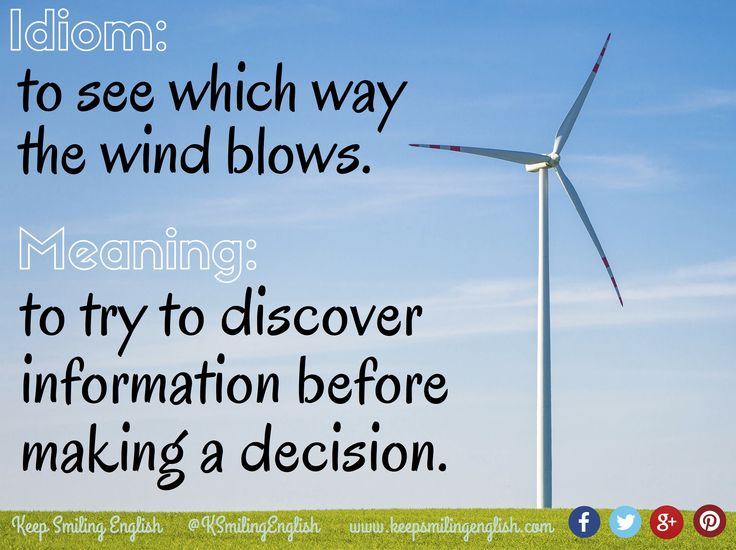 Idiom: to see which way the wind blows