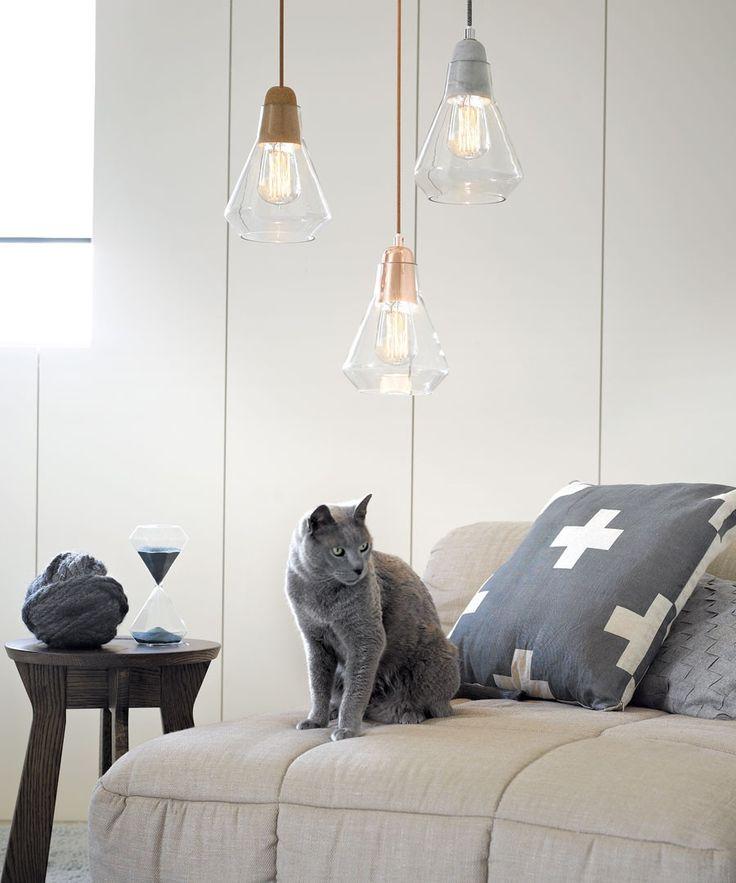 Ando 1 Light Pendant in Concrete/Glass | Josh & Jenna Range | Lighting
