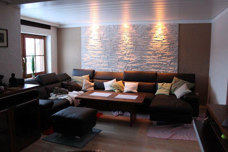 steinwand selbst gemacht im wohnzimmer mit dundee weiss | umbauen ... - Moderne Steinwande Wohnzimmer