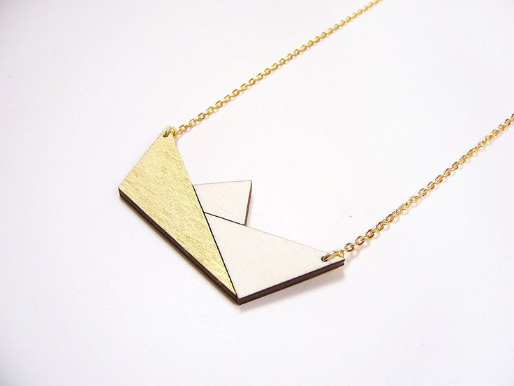 Hand painted, laser cut, plywood pendant - Origami boat