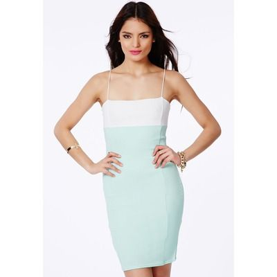 Mint Strappy Contrast Bodycon Dress, Mint
