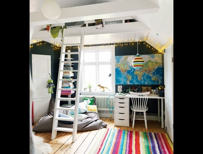 Kid's Hideaway by Ulrika Grönlund Photo Peter Carlsson   #Kids #Bedroom #Peter_Carlsson #Ulrika_Gronlund: Spaces, Kids Bedrooms, Idea, The Loft, Kids Rooms Design, Maps, Color, Boys Rooms, Loft Beds