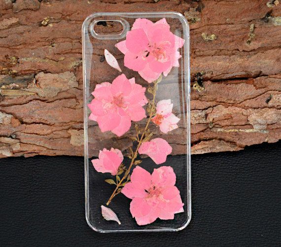 Pink Dried flower phone casePressed flower iphone by UUniquecase
