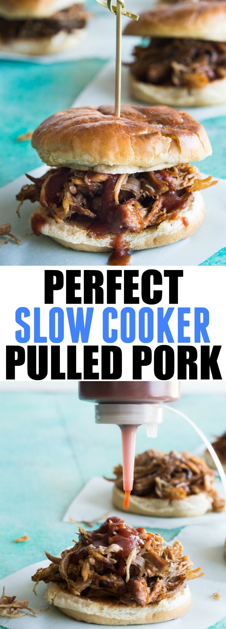 Perfect Slow Cooker Pulled Pork.  This Texas style pulled pork is made easier in the slow cooker.  Perfect for enjoying as a BBQ Pulled Pork Sandwich, or loaded up on nachos, or even as a pizza topping!  The possibilities are endless!