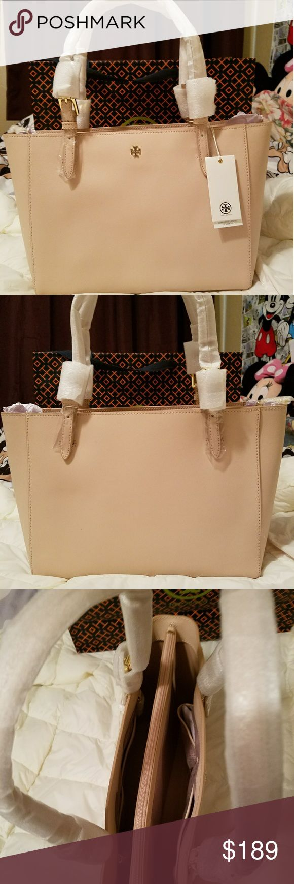 NWT Tory Burch Small York' Saffiano Leather Brand New Small York' Saffiano Leather Buckle Tote. Light Oak.Comes with paperbag. Tory Burch Bags Satchels