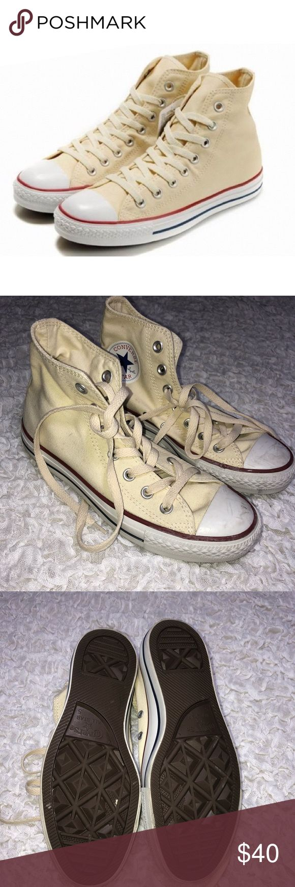Cream Converse All star Hi Top sneakers These Cream Converse All star Hi Top sneakers tennis shoes. Worn once, a couple scuffs but in otherwise mint condition Converse Shoes Sneakers