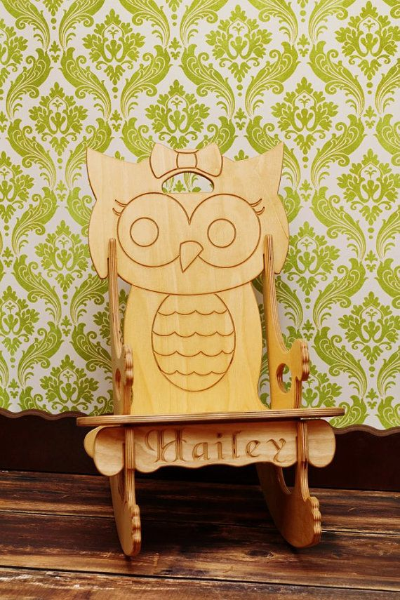 adorable girly owl rocking chair plus puzzle just love girly and thoughts. Black Bedroom Furniture Sets. Home Design Ideas