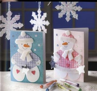 Christmas greeting cards with snowmen - paper craft pattern