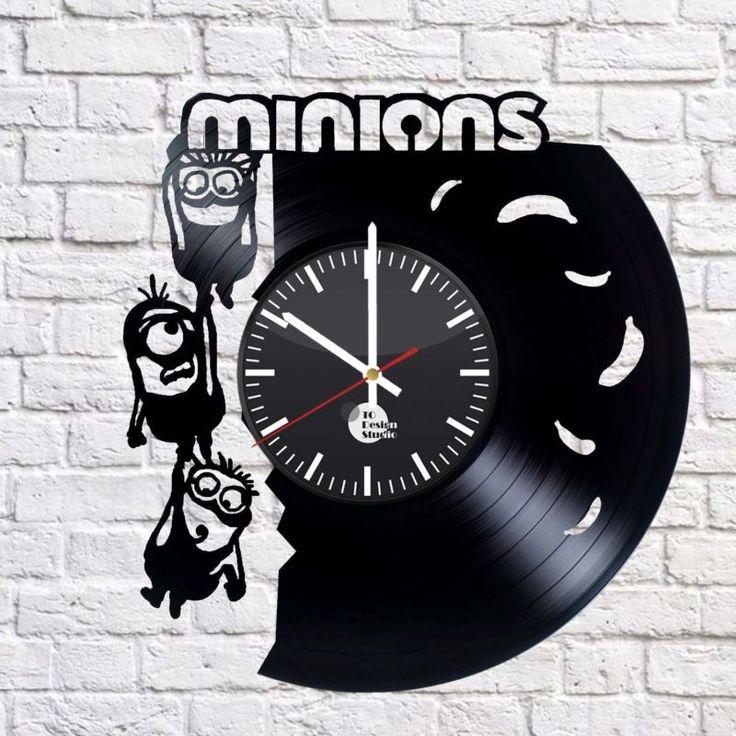 Minions Handmade vinyl record modern vintage unique decorative wall clock