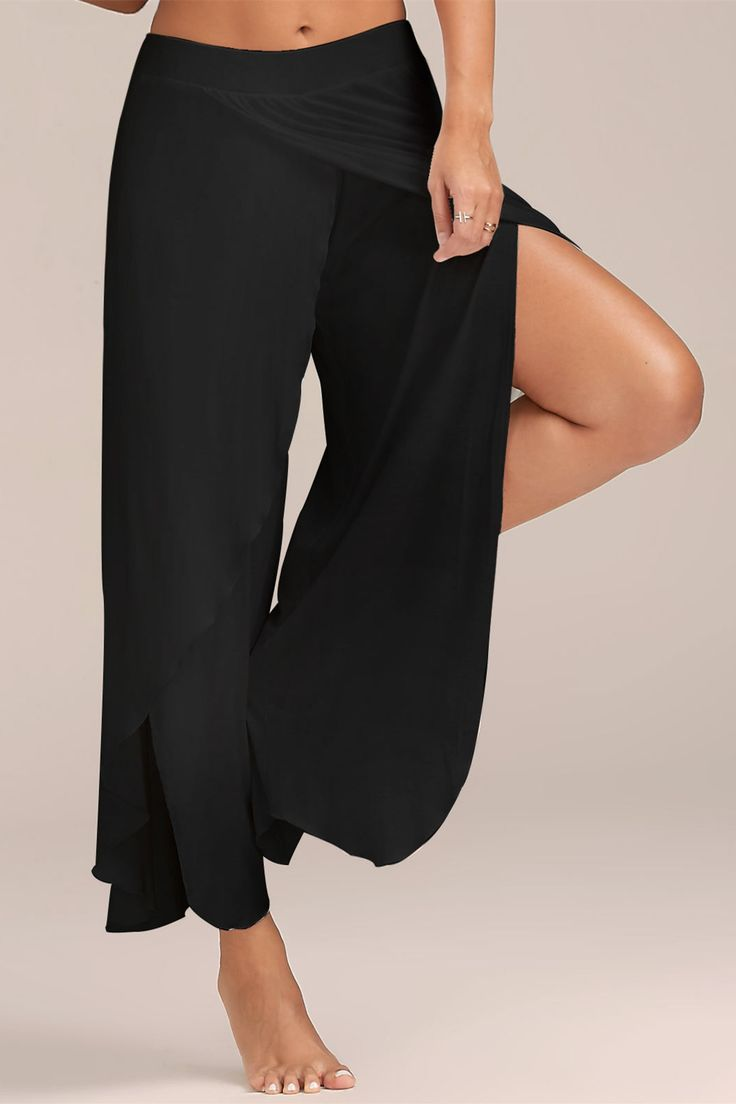 $12.80 High Slit Flowy Layered Wide Leg Pants - Black