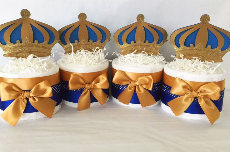 Prince Mini Diaper Cakes, Prince Theme Baby Shower Centerieces, Royal Blue and Gold Oarty Decorations by AllDiaperCakes on Etsy https://www.etsy.com/listing/230859047/prince-mini-diaper-cakes-prince-theme