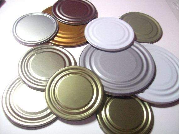 Tin Can lids  set of 10 by PrairieDogPaperCo on Etsy (Craft Supplies & Tools, tin, can, lids, recycled, supply, magnet supply, castteam, can lids, tin can lid, repurposed supply, green supply, recycled supply, tin supply)