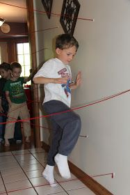 Sometimes Creative: Superhero Birthday Party. Whoever makes it to the opposite end of the hall fastest wins.
