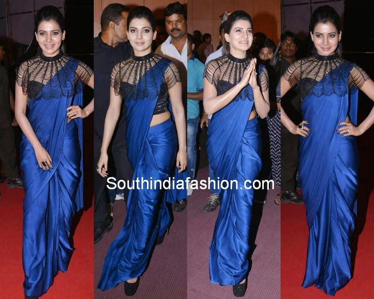 Samantha in Navy Blue Saree with Cape ~ Celebrity Sarees, Designer Sarees, Bridal Sarees, Latest Blouse Designs 2014