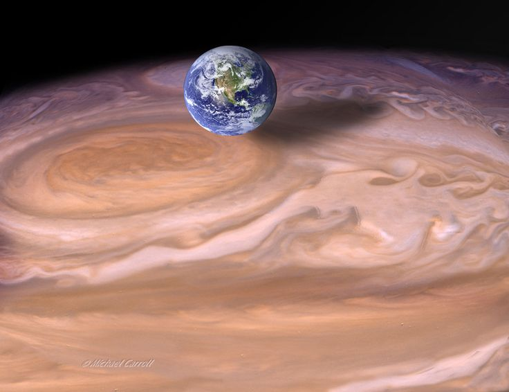 spaceexp:The Earth compared to the Giant Red Spot on Jupiter.  by Michael Carroll... ((( Beautiful)))