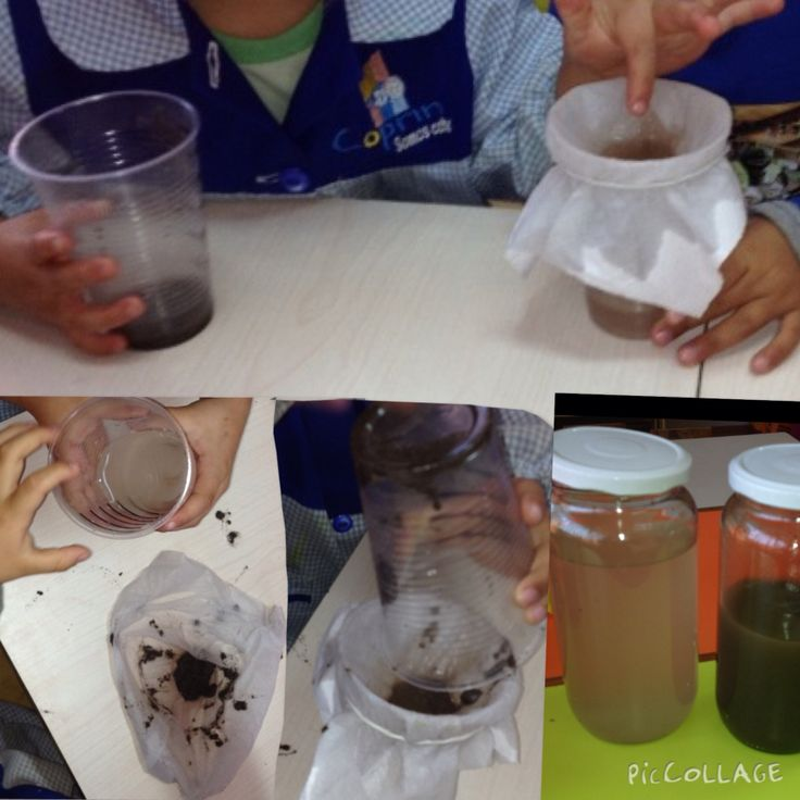 """Experiencia: Filtración del agua. Método de proyecto: """"Salvemos el medio ambiente""""  Los niños recuperan agua por medio de la filtración y luego la utilizan para regar su huerto."""