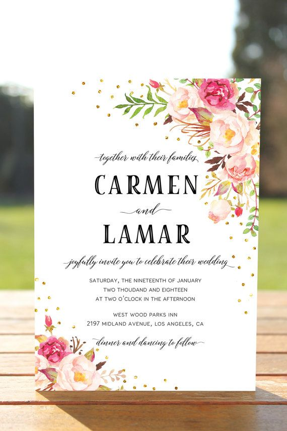 Bohemian Floral Wedding Invitation Boho Wedding by InkAndVeil