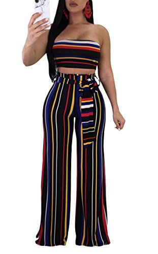 208bcd7a86ce Cutedi Womens Sexy Rainbow Stripe Print Bodycon Strapless 2 Piece Outfits  Jumpsuits Tube Crop Top and Wide Leg Long Pants Set