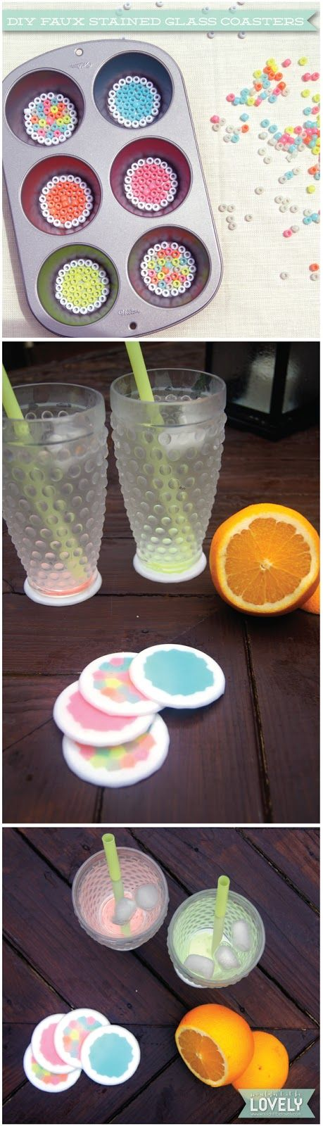 DIY coasters, melted pony beads, easy project, simple crafts, Wouldn't it be Lovely                                                                                                                                                      More