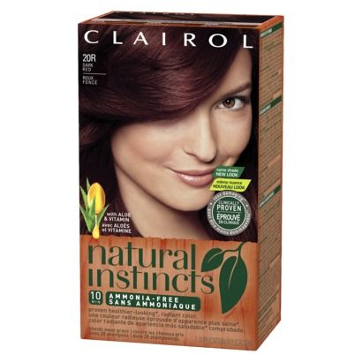 Clairol Natural Instincts Hair Color - Dark Red (20R) My favorite, go-to hair dye for natural(-ish)-looking auburn. I never quite know if it's really discontinued or not.