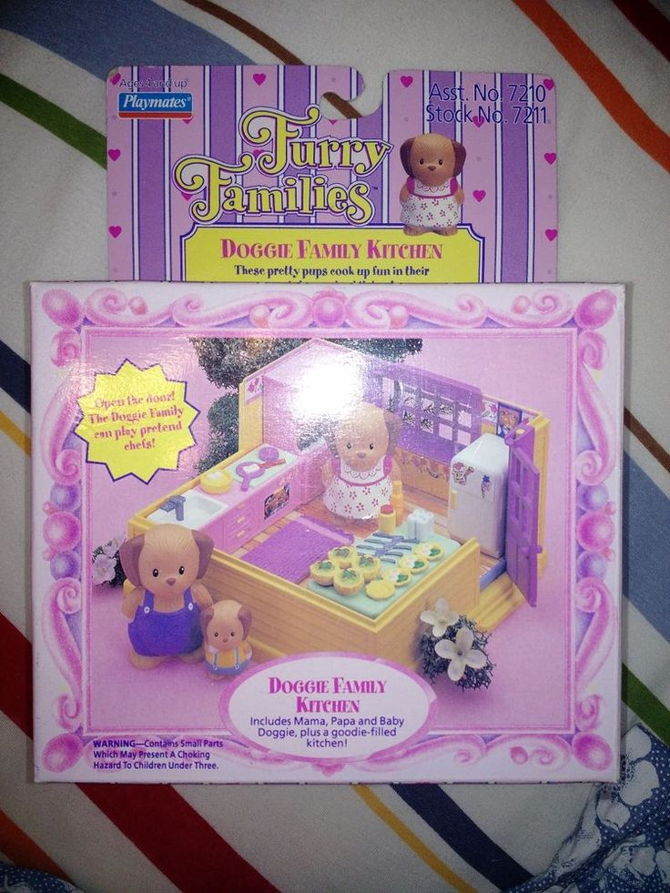 VINTAGE PLAYMATES 1993 FURRY FAMILIES Puppy Family Box #PlaymatesToys