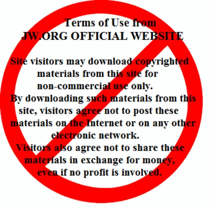 Terms of use from JW.ORG Official Website - - The pictures from publications printed by the Watch Tower Bible and Tract Society are also copyrighted. Watch what you post on electronic media.