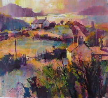 'Late Sun, Port Quinn' Framed Watercolour by Chris Forsey