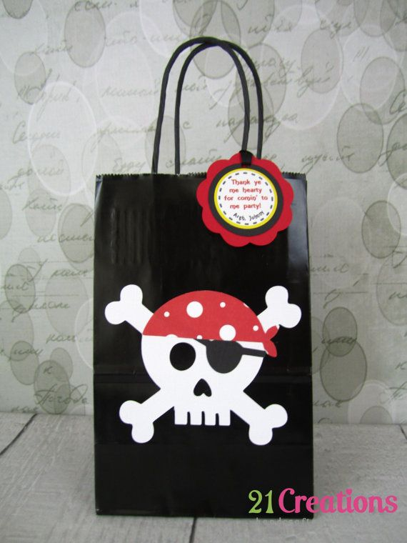 Pirate Favor Bags - set of 8 on Etsy, $22.00